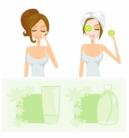 hair wash: beauty women getting facial mask set