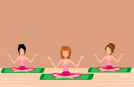 women yoga: three Young girls doing yoga