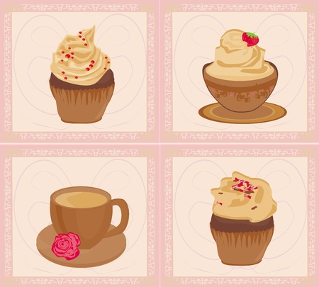 sweet dessert set  Vector
