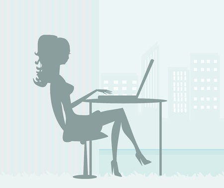 silhouettes secretary working with computer  Vector