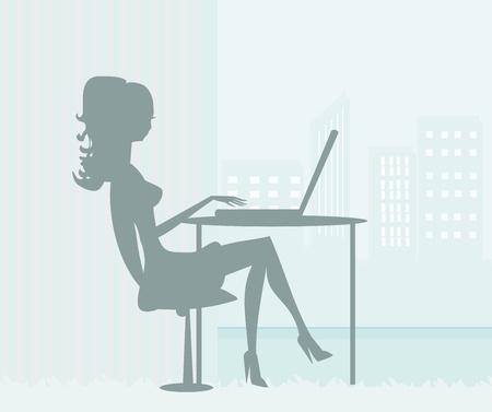secretaria sexy: siluetas secretaria de trabajo con el ordenador Vectores