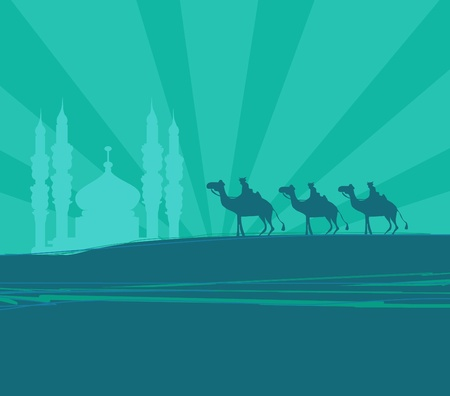 desert oasis: Illustration of traditional Christian Christmas Nativity scene with the three wise men