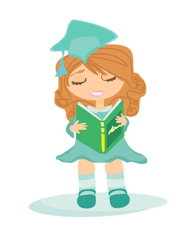 Illustration of a Kid Holding Her Diploma  Stock Vector - 12947809