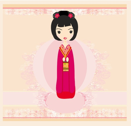 Kokeshi doll on the pink background with floral ornament Stock Vector - 12954406