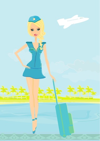 Beautiful stewardess with baggage Vector