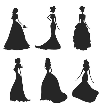 Bride silhouettes set