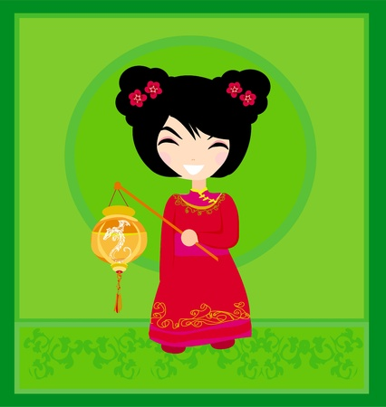 A chinese girl and her beautiful lantern  Stock Vector - 12954419