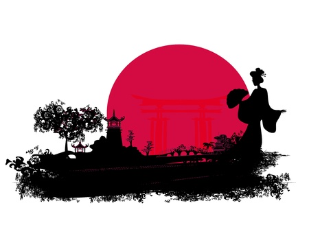 summer in japan: abstract Asian Landscape  Illustration