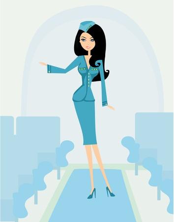 airline hostess: Beautiful stewardess