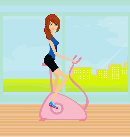 Girl on the exercise bike  Vector