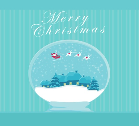 Happy New year card with Santa and winter landscape Stock Vector - 13034085