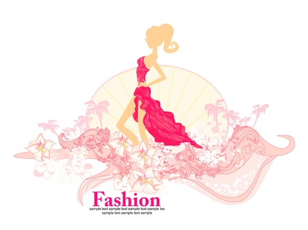 Fashion shopping girl on grunge floral background  Vector