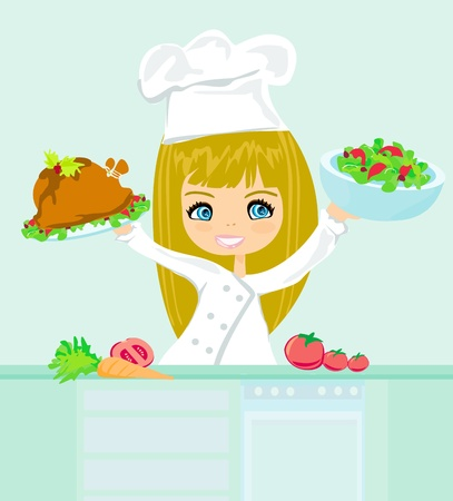 female chef: Beautiful girl cooking  Illustration
