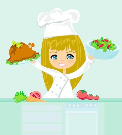 woman eat: Hermosa ni�a de cocina