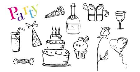 Set of Party doodles