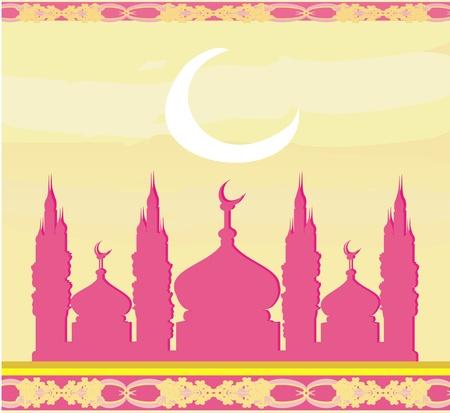 allah: Ramadan Hintergrund - Moschee Silhouette Vektor-Karte Illustration