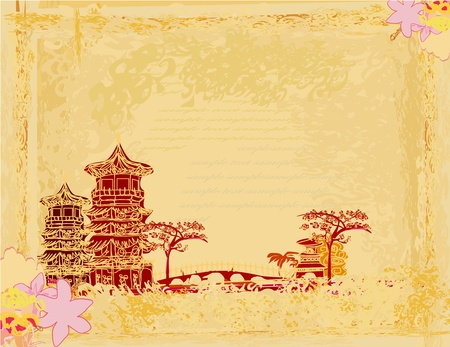 pagoda: old paper with Asian Landscape