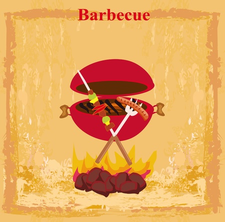grunge Barbecue Party Invitation Stock Vector - 13034759