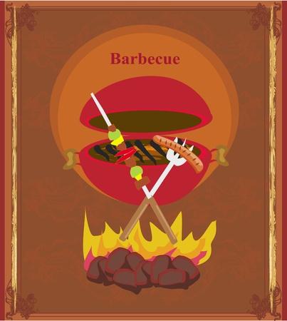 salmon steak: grunge Barbecue Party Invitation