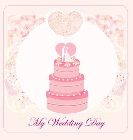 wedding cake card design Stock Vector - 13034753