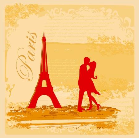 Romantic couple in Paris kissing near the Eiffel Tower Retro card  Vector
