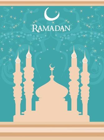 ramadan background: Ramadan background - mosque silhouette vector card