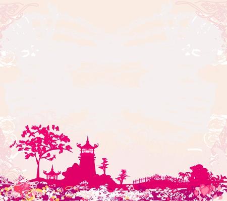 sakuras: papel viejo con Paisaje de Asia Vectores