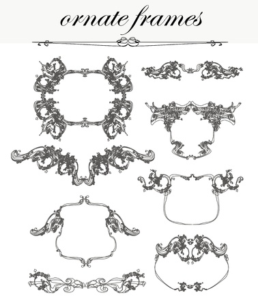 vector set  calligraphic design elements and frames Stock Vector - 13034248
