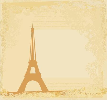 romantic travel: vintage retro Eiffel card  Illustration
