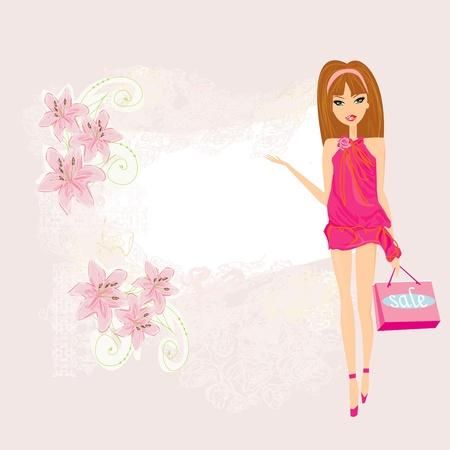 fashion girl Shopping - shopping sale frame Stock Vector - 13034751