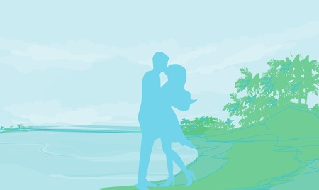 silhouette couple on tropical beach  Stock Vector - 13034210