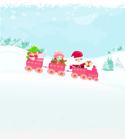 Santa Christmas Train  Vector