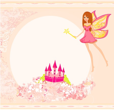 fairy flying above castle  Stock Vector - 13059997
