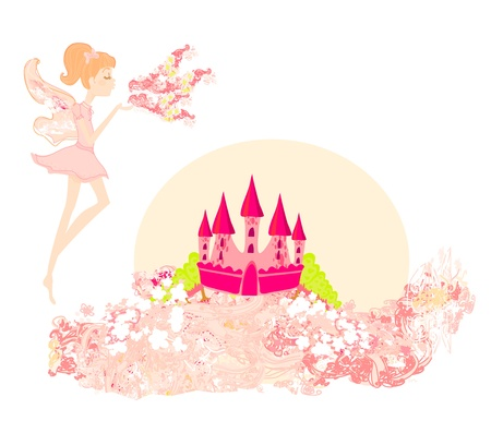 fairy flying above castle Stock Vector - 13059998