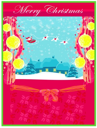 Happy New year card with Santa and winter landscape Stock Vector - 13059988