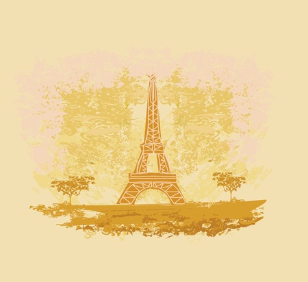 vintage retro Eiffel card  Stock Vector - 13059989