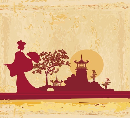 japanese style: abstract Asian Landscape  Illustration