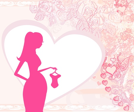 awaiting: Beautiful pregnant woman on shopping for her new baby- abstract background   Illustration