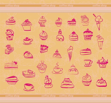sweet dessert background  Vector