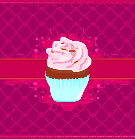 Scheda Vintage con Cupcake