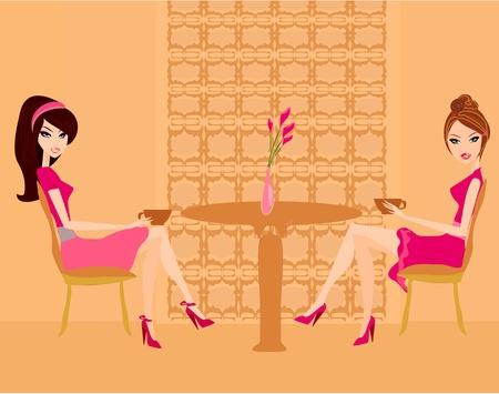 bar table: cute pretty girls in coffee break