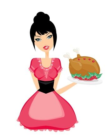 Beautiful Waitress serving a chicken  Illustration