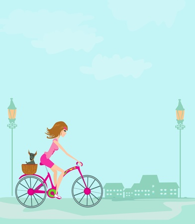 summer dog: woman riding a bike in the city  Illustration