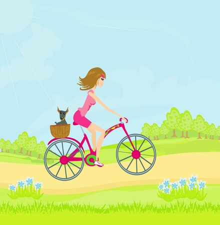woman riding a bike in a park in the city  Vector
