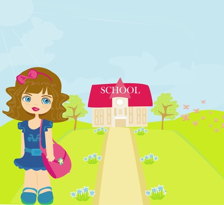 1 school bag: girl going to school  Illustration