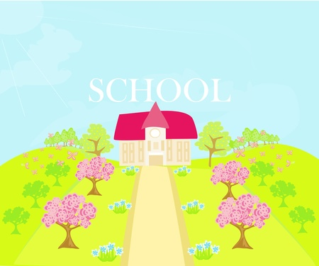 illustration of country school house  Stock Vector - 13121680