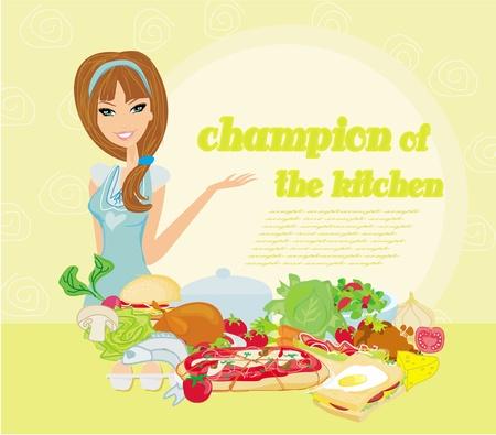 woman eat: Cocinar bella dama