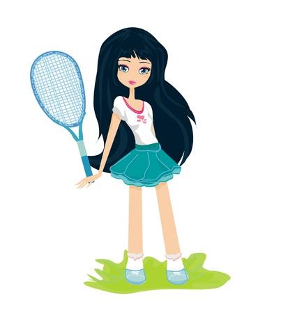 Jeune fille avec une raquette de tennis sur fond blanc