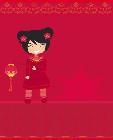 traditonal: A chinese girl and her beautiful lantern  Illustration