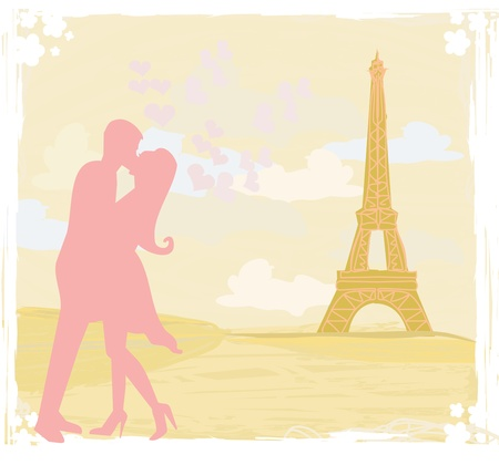 Romantic couple in Paris kissing near the Eiffel Tower Retro card  Stock Vector - 13121706